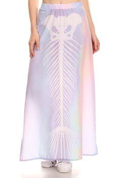 Mermaid Skeleton Long Skirt- Pastel from POPRAGEOUS