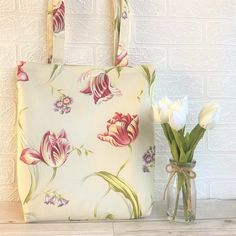 Spring flowers tote bag with pink Tulips and purple flowers Pink Tulips, Purple Flowers, Spring Flowers, Floral Tote Bags, Pink Fabric, Christmas Time, Printing On Fabric, Print Patterns, Handmade Items