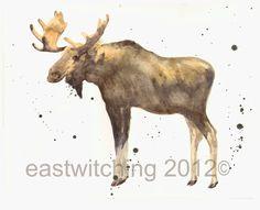 MOOSE Painting - Original watercolor Moose