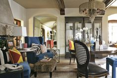 India Miller's Foyer is an eclectic mix of colors and fabrics at the 2013 Adamsleigh Showhouse - Traditional Home® Photo: Peter Rymwid Rugs In Living Room, Decor, Brown Living Room, Home, Interior, Armchair Decor, Living Room Photos, Carpet Pricing, Room