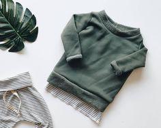 Baby sweatshirt, green pullover , baby crewneck