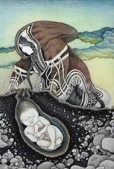 """""""Mother Earth"""" by Germaine Arnatauyck  Contemporary Inuit artwork"""