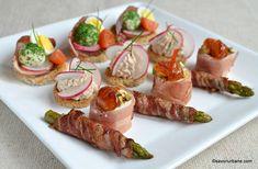 Retete de aperitive festive - platou asortat | Savori Urbane Food Decoration, Food Festival, Party Snacks, Asparagus, Sushi, Sausage, Food And Drink, Appetizers, Cooking Recipes