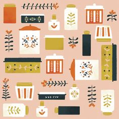 Vintage Containers Removable Wallpaper