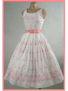 Blue Velvet Vintage - Authentic Vintage Clothing - Small Vintage Dresses - 50's White Pink Rose Embroidered Full Tea Length Dress