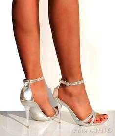 Ladies Silver Diamante Strappy Sandal High Heels Bridal Wedding Shoes ALL SIZE #GL #PlatformsWedges #PartyPromWeddingBridesmaidClubEvening