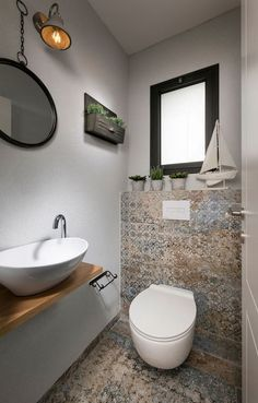 Interior Home Design Trends For 2020 - New ideas Small Toilet Room, Small Bathroom, Small Toilet Design, Bathrooms, Modern Bathroom Design, Bathroom Interior, Modern Vintage Bathroom, Toilet Decoration, Tiny Powder Rooms