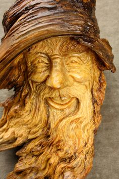Handmade Original Ooak Wood carving of a Wood Spirit on by treewiz, $125.00