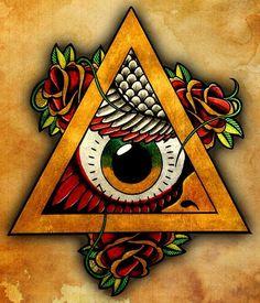 All Seeing Owl by Lee Jegou Illuminati Eye Tattoo Canvas Art Print