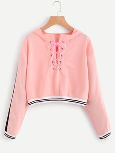 Eyelet Lace Up Stripe Trim HoodieFor Women-romwe Source by Teen Fashion Outfits, Outfits For Teens, Girl Fashion, Summer Outfits, Girl Outfits, Crop Top Outfits, Cute Casual Outfits, Mode Hipster, Jugend Mode Outfits