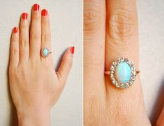 I love Opal ring! I would love this a Opal as my engagement ring! Opal Jewelry, Jewelry Box, Jewlery, Jewelry Accessories, The Bling Ring, My Birthstone, Looks Chic, October Birth Stone, Opal Rings