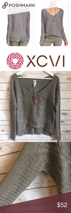 NWT XCVI Billy Sweater Tiered Cable Knit NWT XCVI Billy Sweater Tiered Cable Knit Retail $152.00 (online purchase) Hi-lo hem Notch in the back V-neck Long sleeve  Small 21 inch bust 21.5 inch length in the front and 25 inch in the back Fiber content is 60% cotton 20% rayon and 20% nylon  Thank you for looking and please check out the rest of my closet. XCVI Sweaters V-Necks