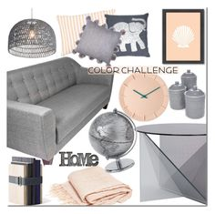 """Color Challenge: Gray & Peach"" by mada-malureanu ❤ liked on Polyvore featuring interior, interiors, interior design, home, home decor, interior decorating, Tom Dixon, Thro, Dot & Bo and Zuo"