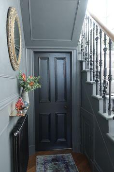 Stair and hall makeover reveal, dark grey walls, iron balustrade, black doors, brass accessories on www. Black Doors, Victorian Hallway, Grey Hallway, Entry Hallway, Attic Rooms, Painted Stairs, Stairs, Stairways, Dark Grey Walls