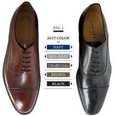 Men - What color shoes to wear with what suit. Go to guide for interviews, career fairs, or conferences. http://careers.ua.edu