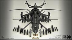 Fuujin Attack Helicopter Render by MeganeRid.deviantart.com on @deviantART