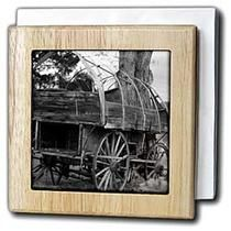 3dRose - Jos Fauxtographee Black and White - An old Pioneer wagon on a setting by a tree  - Tile Napkin Holders