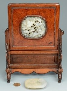 Lot 1: Chinese White Jade Table Screen + Buckle - Image 1 - to bid, visit our catalog at http://www.liveauctioneers.com/catalog/49503_winter-fine-art-and-antiques-auction/page1