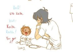 Keith and baby lance ~ alcmskfk this is adorable Voltron Memes, Voltron Comics, Voltron Fanart, Form Voltron, Voltron Ships, Voltron Klance, Klance Cute, Cute Gay, Voltron Force