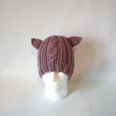 New to AnneArchy on Etsy: Animal Ear Bulky Cable Hat knitting PATTERN - warm bulky knit cabled cable ribbed brim stocking hat toque -permission to sell finished items (3.00 USD)