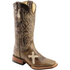Ferrini Women's Distressed Cross Vamp Western Boot ($0.01) ❤ liked on Polyvore featuring shoes, boots, square toe boots, leather cowgirl boots, low cowboy boots, embroidered cowgirl boots and distressed cowboy boots