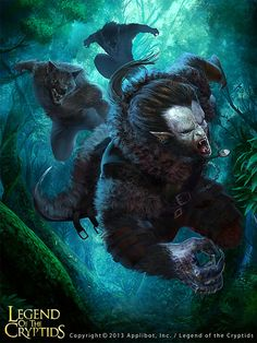 Artist: Buddy Jiang aka plue - Title: hunter night vampire - Card: Gashing Claws Lycanthrope (Moon)