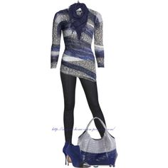 """""""NIC + ZOE Sapphire Strip Top"""" by stay-at-home-mom on Polyvore"""