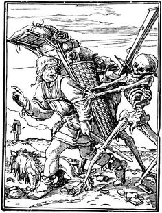 Dance of Death. Hans Holbein the Younger, This woodcut is part of a series Holbein did on the Dance of Death theme. Art Of Manliness, Memento Mori Art, La Danse Macabre, Hans Holbein The Younger, Renaissance Kunst, Death Art, Dance Of Death, Landsknecht, Illustration