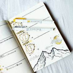 Bullet journal weekly space theme mountains