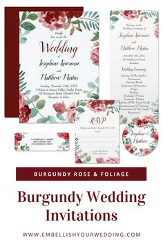 Burgundy wedding invitations with burgundy red roses and greenery foliage. Visit our website to see the full range of matching wedding stationery that you can personalize for your wedding day.#wedding #weddings #weddinginvitations #weddinginvites #weddingstationery #weddinginvitationsuite #burgundyweddinginvitations #roseweddinginvitations #redroseweddinginvitations #foliageweddinginvitations