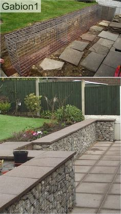 gabion wall with concrete pavers as a capping. But a much more imaginative garden than this. Gabion Retaining Wall, Concrete Retaining Walls, Landscaping Retaining Walls, Concrete Pavers, Backyard Landscaping, Cheap Retaining Wall, Inexpensive Retaining Wall Ideas, Paver Sand, Paver Stones