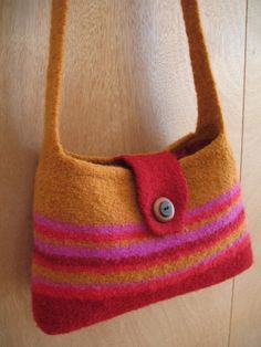 ZinniaPattern for a Knit and Felted Shoulder Bag by bluepeninsula
