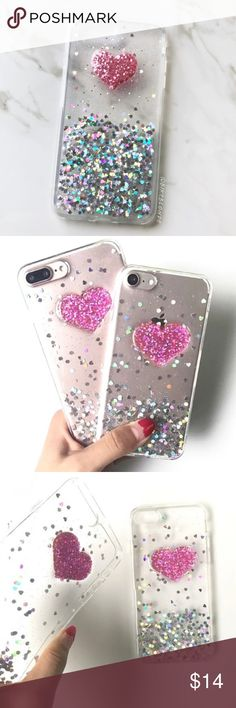NEW iPhone 7/8/7+/8+ Soft Glitter Pink Heart Case ▪️ Translucent Case With Glitter Hearts (not liquid)  ▪️Choose 7/8 or 7 Plus/8 Plus Below  ▪️High Quality Soft TPU, Front Bumper and Button Covers   ▪️Same or Next Business Day Shipping ! Accessories Phone Cases