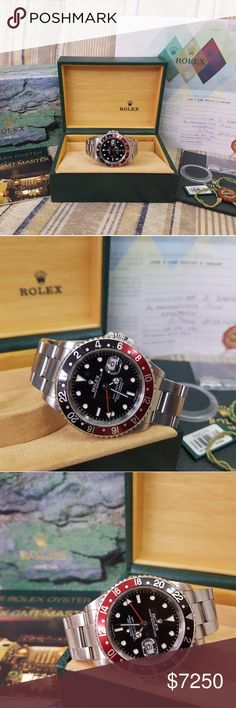 Rolex GMT 2 Coke 2004mdl Complete Rolex GMT-Master II Coke  Ref# 16710  Y series, purchased 2004  Complete with box, manuals, hang tags, bezel protector and certificate  Excellent condition  $7250 Jewelry