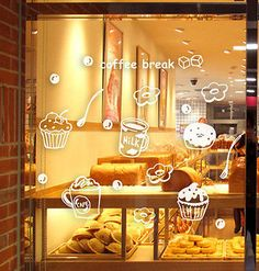 Coffee Cafe Shop Window Stickers Business Vinyl Sign Wall Decal Decor Removable