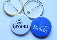 Wedding Party Pins Bridesmaid Buttons Groomsman Badges Maid