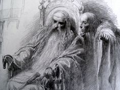 Théoden and Grima in The Lord of the Rings Sketchbook - by Alan Lee
