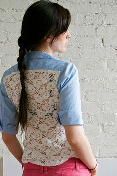 Lace & Chambray shirt diy by peneloping, via Flickr