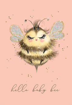 Welcome New Baby, Bee Drawing, Bee Creative, I Love Bees, Doodles, Cute Bee, Bee Art, New Baby Cards, Bee Design