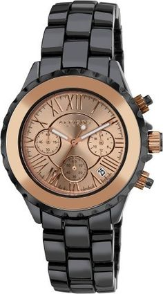 Akribos XXIV Men's AK523RG Ceramic Rose-Tone Chronograph Watch Akribos XXIV. $169.00. Rose-tone roman numeral hour markers. Water-resistant to 30 M (99 feet). Date displayed at the 4:30 position. Three subdials on a rose-tone sunray dial feature 60 seconds, 60 minute timer and dual time. Black ceramic bracelet is secured with a push-button deployment clasp