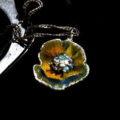 Orange poppy flower enamel silver pendant by JRajtar on Etsy
