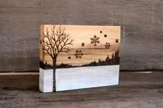 Winter Tree with Snowflakes  Art Block  Wood by TwigsandBlossoms, $30.00