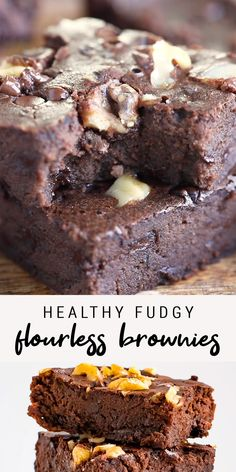 The best fudgy, flourless black bean brownies! No one will be able to tell that they're made with beans and natural maple syrup. These healthy brownies are naturally sweetened, grain-free, dairy-free and gluten-free. This recipe is so easy! Healthy Deserts, Healthy Sweets, Healthy Dessert Recipes, Healthy Baking, Delicious Desserts, Healthy Sweet Snacks, Recipes With Dates Healthy, Cherry Recipes Healthy, Healthy Chocolate Desserts