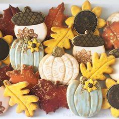 Blue, Gold, Yellow & Cream Leaves, Acorns, Sunflowers and Pumpkin Cookies Acorn Cookies, Fall Cookies, Pumpkin Cookies, Iced Cookies, Holiday Cookies, Cupcake Cookies, Sugar Cookies, Cupcakes, Tasty Cookies