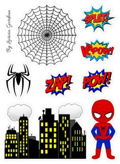 Spiderman Theme Party, Superhero Birthday Party, Man Birthday, Spiderman Chibi, Baby Spiderman, Spiderman Cake Topper, Miles Morales Spiderman, Happy Birthday Printable, Cake Templates