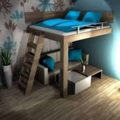 Awesome Cool Loft Bed Design Ideas and Inspirations 32 Awesome Bedrooms, Cool Rooms, Small Rooms, Bedroom Loft, Bedroom Decor, Girls Bedroom, Cool Loft Beds, Awesome Bunk Beds, Adult Loft Bed