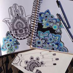 Hamsa and mandala Tatoo Henna, Tatoo Art, Henna Art, Henna Kunst, Indie, Favim, Hamsa Hand, Artsy Fartsy, Art Pictures