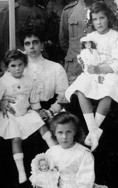 "Princess Helen of tge Hellenes,who was born the Grand Duchess Elena Vladimirovna Romanova of Russia with her children Princesses Marina,Olga and Elizabeth of the Hellenes. ""AL"""