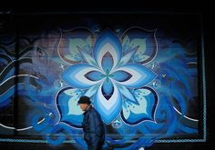 "Sasu Mural ""Paint it blue"" (2006) latex paint, aerosol on wall, Yokohama."