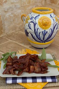 Italian Food Forever » Barbazza con Sagrantino & Salvia - Pancetta Strips Fried in Sagrantino Wine With Sage - Umbrian cooking at its best!
